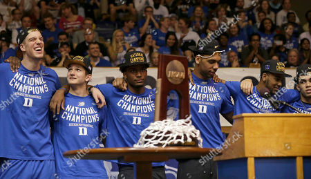 Marshall Plumlee, Grayson Allen, Justise Winslow, Jahlil Okafor, Matt Jones,Tyrus Jones Members of the national championship Duke basketball team from left, Marshall Plumlee; Grayson Allen; Justise Winslow; Jahlil Okafor; Matt Jones and Tyrus Jones are welcomed at Cameron Indoor Stadium in Durham, N.C. Duke defeated Wisconsin Monday night in the NCAA Final Four tournament championship game