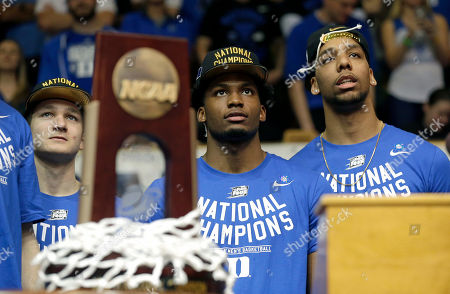 Grayson Allen, Justise Winslow, Jahlil Okafor Duke's Grayson Allen, left, Justise Winslow, center, and Jahlil Okafor watch a video during a homecoming celebration for the national championship Duke basketball team at Cameron Indoor Stadium in Durham, N.C. Duke defeated Wisconsin Monday night in the NCAA Final Four tournament championship game