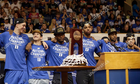Marshall Plumlee, Grayson Allen, Justise Winslow, Jahlil Okafor, Matt Jones, Tyrus Jones Members of the national championship Duke basketball team from left, Marshall Plumlee; Grayson Allen; Justise Winslow; Jahlil Okafor; Matt Jones and Tyrus Jones are welcomed at Cameron Indoor Stadium in Durham, N.C. Duke defeated Wisconsin Monday night in the NCAA Final Four tournament championship game