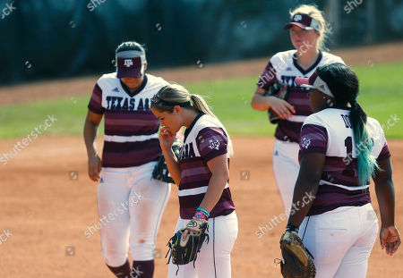 Stock Photo of Rachel Fox Texas A&M pitcher Rachel Fox reacts after a hit by Oklahoma in the seventh inning of a Division I NCAA college softball tournament regional championship game in Norman, Okla., . Oklahoma won 2-0 and moves on to the super regional