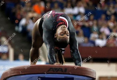 Elizabeth Price Stanford's Elizabeth Price competes on the vault during the NCAA women's gymnastics championships in Fort Worth, Texas. The NCAA women's gymnastics Championships begin on
