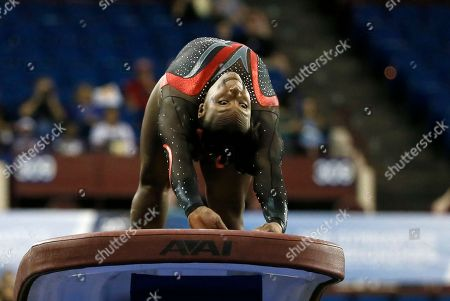 Elizabeth Price Stanford's Elizabeth Price competes on the vault during the NCAA women's gymnastics championships, in Fort Worth, Texas. Price won the national title in the event