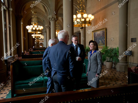 Kathy Hochul Lt. Gov. Kathy Hochul, right, talks with members of the Senate sergeant at arms staff at the Capitol, in Albany, N.Y