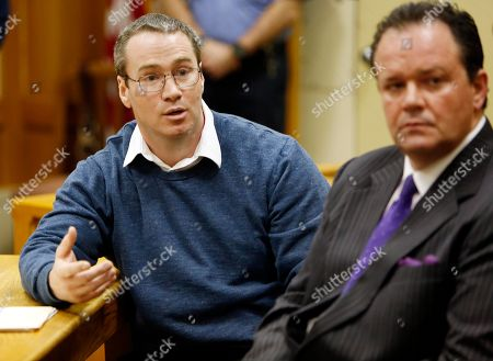 Patrick Randall Patrick Randall, left, with his attorney Mark Stevens answers questions from Gregory Smart's family during his parole hearing, in Concord, N.H. Randall was granted parole for his role in the killing of Gregory Smart in 1990