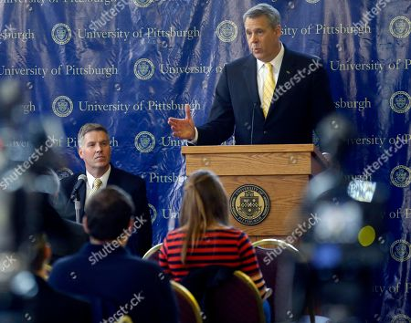 Scott Barnes, Patrick Gallagher Scott Barnes, right, addresses a news conference after he was introduced by University of Pittsburgh Chancellor Patrick Gallagher, left, as the university's new athletic director, in Pittsburgh