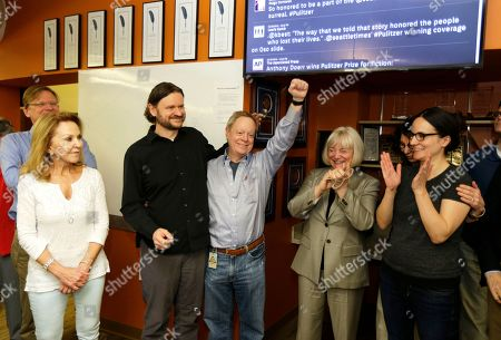 Frank Blethen Frank Blethen, center, owner and publisher of the Seattle Times, cheers as he stands with his son Ryan Blethen, second from left, who is the Times' Assistant Managing Editor for Digital, and Frank Blethen's wife Charlene, far left, as they celebrate in the Seattle Times newsroom, after it was announced that the Times staff had won the Pulitzer Prize for breaking news reporting. Also shown is Times Editor Kathy Best, second from right, and multimedia specialist Courtney Riffkin, right. The Times won for its coverage of the mudslide in Oso, Wash., that killed 43 people, and its exploration of whether the disaster could have been prevented