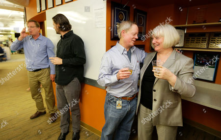 Frank Blethen, Kathy Best Frank Blethen, second from right, owner and publisher of the Seattle Times, drinks sparkling cider as he stands with Times Editor Kathy Best, right, in the paper's newsroom, after it was announced that the Times staff had won the Pulitzer Prize for breaking news reporting for its coverage of the mudslide in Oso, Wash., that killed 43 people, and the its exploration of whether the disaster could have been prevented