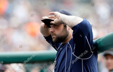 Joba Chamberlain Detroit Tigers relief pitcher Joba Chamberlain adjusts his cap in the dugout before the first inning of a baseball game against the Kansas City Royals, in Detroit