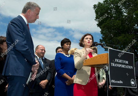 Bill de Blasio, Betsy Hodges Minneapolis Mayor Betsy Hodges, right, with New York City Mayor Bill de Blasio, speaks during a news conference on Capitol Hill in Washington, . Di Blasio and Hodges, were joined by a bipartisan coalition of mayors from around the country for meetings with Congressional leadership to call for a six-year transportation authorization that significantly increases federal transportation investments