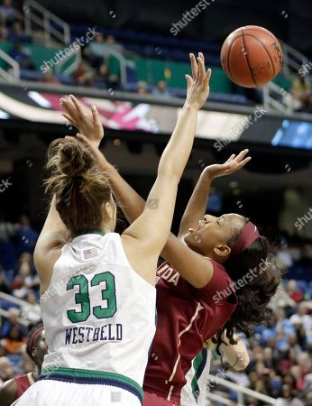 Lauren Coleman, Kathryn Westbeld Florida State's Lauren Coleman, right, shoots over Notre Dame's Kathryn Westbeld (33) during the first half of an NCAA college basketball game in the championship of the Atlantic Coast Conference tournament in Greensboro, N.C