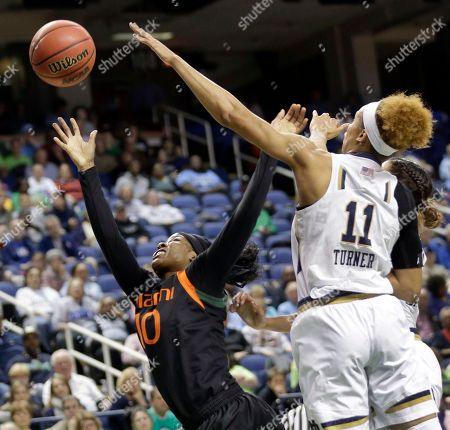 Michelle Woods, Brianna Turner Miami's Michelle Woods (10) shoots past Notre Dame's Brianna Turner (11) during the first half of an NCAA college basketball game in the quarterfinals of the Atlantic Coast Conference women's tournament in Greensboro, N.C