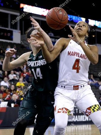 Stock Picture of Lexie Brown, Anna Morrissey Maryland guard Lexie Brown, right, battles for a rebound against Michigan State guard Anna Morrissey during the second half of an NCAA college basketball game in the quarterfinals of the Big Ten Conference tournament in Hoffman Estates, Ill., on . Maryland won 70-60