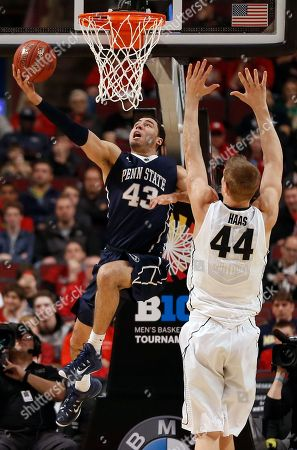 Ross Travis, Isaac Haas Penn State's Ross Travis (43) goes up for a basket against Purdue's Isaac Haas (44) in the first half of an NCAA college basketball game in the quarterfinals of the Big Ten Conference tournament, in Chicago