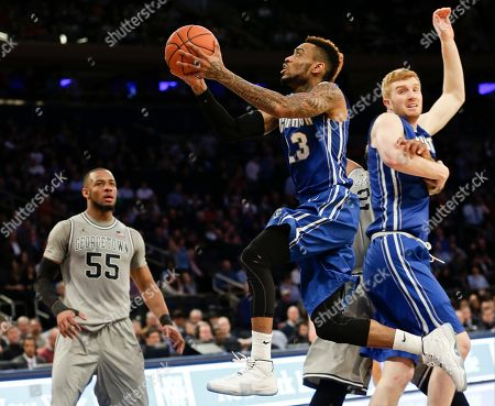 James Milliken Creighton's James Milliken (23) drives past Georgetown's Jabril Trawick (55) during the second half of an NCAA college basketball game in the in the quarterfinals of the Big East Conference tournament, in New York. Georgetown won the game 60-55