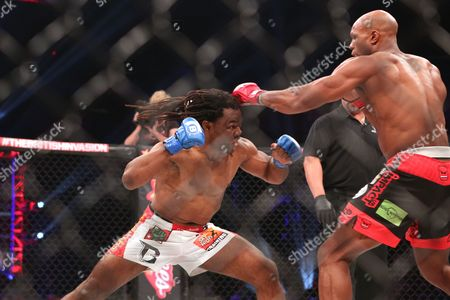 Stock Image of Rameau Thierry Sokoudjou, Linton Vassell Linton Vassell evades a punch against Rameau Thierry Sokoudjou during their ifght at Bellator 134, in Uncasville, CT. Vassell won the fight in the second round via unanswered strikes