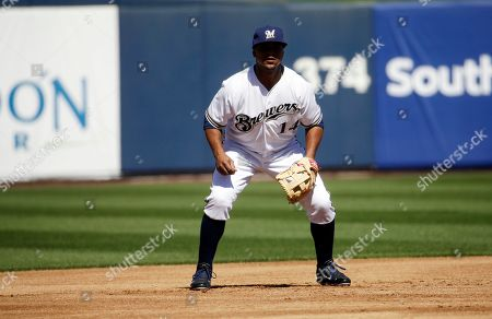 Milwaukee Brewers' Luis Jimenez during a spring training baseball exhibition game against the University of Wisconsin-Milwaukee, in Phoenix