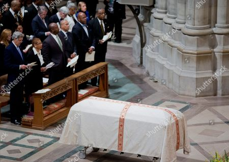 John Kerry, Eleanor Holmes Norton, Tim Scott, Deval Patrick The coffin containing the remains of the late Massachusetts Sen. Edward William Brooke III, rests inside the Washington National Cathedral, in Washington, during a funeral services. Brooke, the first African-American to be popularly elected to the United States Senate. Brooke died on Jan. 3, 2015 at his home in Coral Gables, Fla. He was 95. Front row, from left are, Secretary of State John Kerry, Del. Eleanor Holmes Norton, D-D.C., Sen. Tim Scott, R-S.C., and former Massachusetts Gov. Deval Patrick
