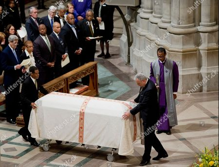 John Kerry, Eleanor Holmes Norton, Edward Markey, John Warner, Tim Scott, Deval Patrick The coffin containing the remains of the late Massachusetts Sen. Edward William Brooke III is brought inside the Washington National Cathedral, in Washington, during a funeral service Brooke, the first African-American to be popularly elected to the U.S. Senate. Brooke died on Jan. 3, 2015 at his home in Coral Gables, Fla. He was 95. Front row, from left are, Secretary of State John Kerry, from left, Del. Eleanor Holmes Norton, D-D.C., Sen. Tim Scott, R-S.C. and former Massachusetts Gov. Deval Patrick. Sen. Edward Markey, D-Mass. and former Virginia Sen. John Warner are in the second row