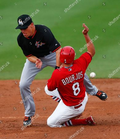 Jeff Baker, Peter Bourjos St. Louis Cardinals center fielder Peter Bourjos (8) steals second base as the ball get away from Miami Marlins second baseman Jeff Baker (10) in the fifth inning of an exhibition spring training baseball game, in Jupiter, Fla