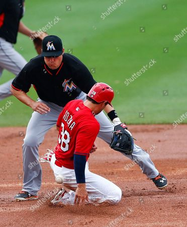 Pete Kozma, Jeff baker St. Louis Cardinals shortstop Pete Kozma (38) steals second base as the ball gets a away from Miami Marlins second baseman Jeff Baker (10) in the fourth inning of an exhibition spring training baseball game, in Jupiter, Fla