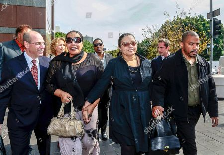 "Mark Levinsohn, Nona Gaye, Jan Gaye, Frankie Gaye Attorney Mark Levinsohn, far left, walks with the late singer, Marvin Gaye's family members, from left, daughter, Nona Gaye, ex-wife, Jan Gaye, and son, Frankie Gaye, outside the Los Angeles U.S. District Court after a jury awarded his children nearly $7.4 million after determining singers Robin Thicke and Pharrell Williams copied their father's music to create ""Blurred Lines,"" . Gaye died in April 1984, leaving his children the copyrights to his music"