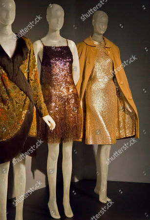 """Stock Image of Lauren Bacall Designer garments belonging to the late actress Lauren Bacall are on display as part of a four-team Fashion Institute of Technology (FIT) graduate student exhibition """"Lauren Bacall: The Look,"""", in New York. The exhibition, exploring Bacall's career and personal style, runs through April 4 at The Museum at FIT"""