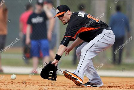 Jeff Baker Miami Marlins' Jeff Baker handles a grounder during spring training baseball practice, in Jupiter, Fla