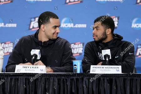 Trey Lyles, Andrew Harrison Kentucky's Trey Lyles, left, talks with teammate Andrew Harrison, right, during a news conference for the NCAA Final Four tournament college basketball semifinal game, in Indianapolis. Kentucky plays Wisconsin on Saturday