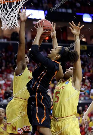 Stock Picture of Kiara Leslie, Malina Howard, Vanessa Smith Princeton guard Vanessa Smith, center, shoots between Maryland guard Kiara Leslie, left, and center Malina Howard in the first half of an NCAA college basketball game in the second round of the NCAA tournament, in College Park, Md