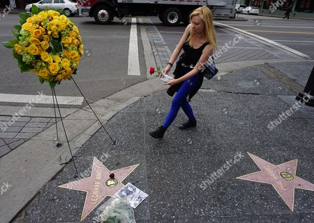 """Mary Czerwinski Star Trek fan, Mary Czerwinski, 33, of Chicago, puts flowers on the Hollywood Walk of Fame star of actor Leonard Nimoy, in Los Angeles . Nimoy, famous for playing officer Mr. Spock in """"Star Trek"""" died Friday, Feb. 27, 2015, in Los Angeles of end-stage chronic obstructive pulmonary disease. He was 83"""