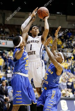 Cameron Payne, Brent Arrington, Kareem Storey Murray State guard Cameron Payne (1) shoots over Morehead State defenders Brent Arrington, left, and Kareem Storey, right, during the first half of an NCAA college basketball game in the semifinals of the Ohio Valley Conference tournament, in Nashville, Tenn