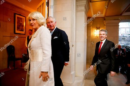 Prince Charles, Camilla the Duchess of Cornwall Britain's Prince Charles, second from left, and Camilla, the Duchess of Cornwall, left, arrive after being greeted by British Ambassador to the United States Sir Peter Westmacott, right, at the British Ambassador's residence on in Washington. The royal couple will visit cultural and educational sites in the Washington region over the next three days