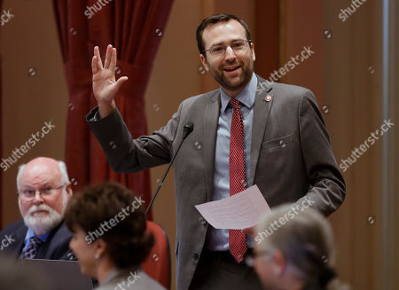 """Benjamin Allen Senator Benjamin Allen, D-Redondo Beach, gives the split-fingered Vulcan salute as he asks the Senate to adjourn in memory of actor Leonard Nimoy, at the Capitol in Sacramento, Calif., . Nimoy, famous for playing officer Mr. Spock in """"Star Trek"""" died Friday, Feb. 27, 2015 in Los Angeles of end-stage chronic obstructive pulmonary disease. He was 83"""