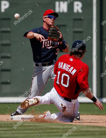 James Beresford, Ryan Hanigan Minnesota Twins' shortstop James Beresford (30) forces out Boston Red Sox' catcher Ryan Hanigan (10) in a double play at second base in the sixth inning during an exhibition spring training baseball game, in Fort Myers, Fla
