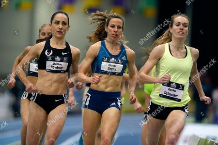 Shannon Rowbury, Morgan Uceny, Rachel Schneider Runners, from left, Shannon Rowbury, Morgan Uceny and Rachel Schneider compete in the women's 1-mile run during the US indoor track and field championships in Boston