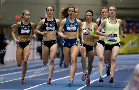 Shannon Rowbury, Morgan Uceny, Rachel Schneider Runners including Shannon Rowbury, Morgan Uceny and Rachel Schneider compete in the women's 1-mile run during the US indoor track and field championships in Boston
