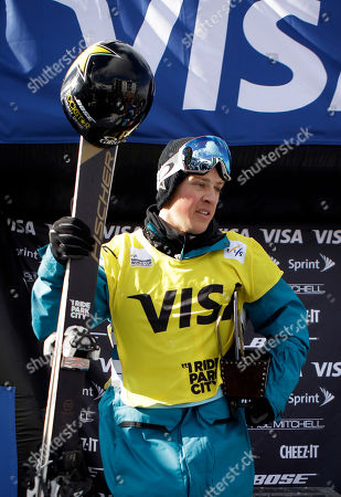 Stock Image of Joss Christensen First-place finisher Joss Christensen stands on the podium competing in a World Cup freestyle ski event, in Park City, Utah