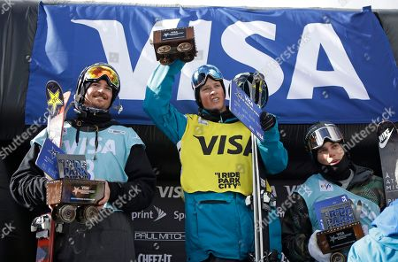 Stock Picture of Joss Christensen, Mcrae Williams, Gus Kenworthy First-place finisher Joss Christensen, center, is flanked by second-place Mcrae Williams, left, and third-place Gus Kenworthy on the podium after the World Cup freestyle skiing event, in Park City, Utah