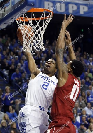 Aaron Harrison, Shannon Hale Kentucky's Aaron Harrison (2) attempts a basket against Alabama's Shannon Hale during the first half of an NCAA college basketball game, in Lexington, Ky