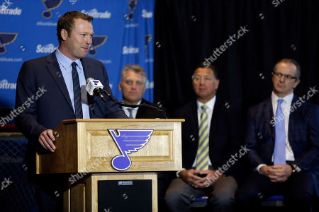 Martin Brodeur, Bernie Federko, Brett Hull St. Louis Blues' Martin Brodeur, left, announces his retirement from the NHL as former Blues, continuing from left to right, Brett Hull, Bernie Federko and Al MacInnis watch, in St. Louis. Brodeur finished his career with St. Louis after 21 seasons as goaltender with New Jersey. He will remain with the Blues as a senior adviser to general manager Doug Armstrong