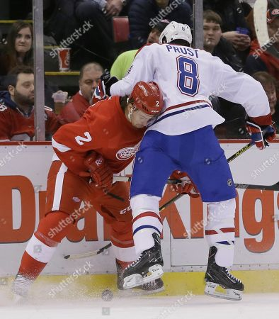 Brendan Smith, Brandon Prust Detroit Red Wings defenseman Brendan Smith (2) and Montreal Canadiens right wing Brandon Prust (8) battle for the puck during the first period of an NHL hockey game, in Detroit
