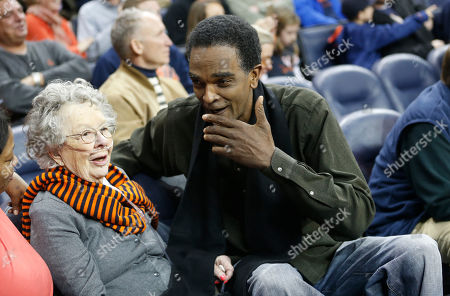 Ralph Sampson Former Virginia basketball player Ralph Sampson talks to a fan prior to the start of an NCAA college basketball game in Charlottesville, Va