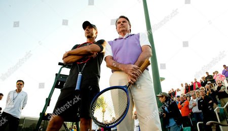 Jimmy Connors, Aaron Krickstein Aaron Krickstein, left, and Jimmy Connors wait to play a tennis match in Boca Raton, Fla., . The private exhibition was billed as a reunion match of their famous 1991 meeting at the U.S. Open. Connors rallied to win a five-setter on Labor Day on his 39th birthday