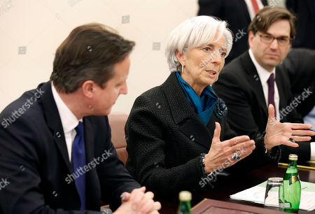 Christine Lagarde, David Cameron, Jason Furman International Monetary Fund Managing Director Christine Lagarde speaks during a round table meeting at the IMF in Washington on . At left is British Prime Minister David Cameron, and at right is Jason Furman, chairman of the White House Council of Economic Advisers