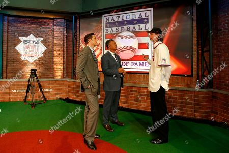 Randy Johnson, Ron Darling, Greg Amsinger National Baseball Hall of Fame inductee Randy Johnson, right, talks to MLB Network show hosts Greg Amsinger, left, and Ron Darling prior to a taping of a show at the MLB Network's Studio 42 following a press conference showcasing the 2015 hall of fame class, in Secaucus, N.J