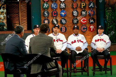 Randy Johnson, John Smoltz, Pedro Martinez, Craig Biggio, Ron Darling, Greg Amsinger MLB Network show hosts Ron Darling, left, and Greg Amsinger, second from left with back to camera, interview members of the National Baseball Hall of Fame 2015 inductee class, from left, Randy Johnson, John Smoltz, Pedro Martinez, and Craig Biggio during a taping at the network's Studio 42 following a press conference showcasing the 2015 hall of fame class, in Secaucus, N.J