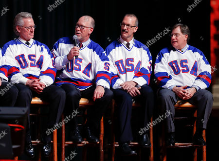 "Mike Ramsey, Ken Morrow, Bill Baker, Steve Janaszak Mike Ramsey of the 1980 U.S. ice hockey team speaks during a ""Relive the Miracle"" reunion at Herb Brooks Arena, in Lake Placid, N.Y. Thirty-five years after the team's stunning gold medal at the 1980 Lake Placid Winter Olympics, the once-fuzzy-faced heroes are being feted for their signature accomplishment. Also pictured are Bill Baker, Ken Morrow and Steve Janaszak"