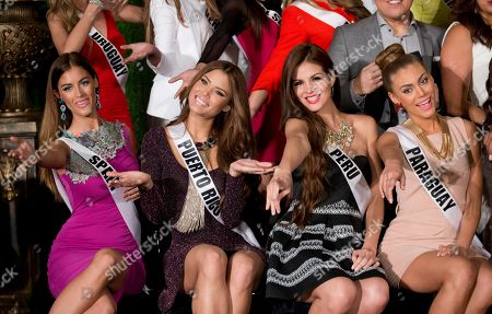 Desire Cordero, Gabriela Berrios, Jimena Vecco, Sally Jara Davalos Miss Universe contestants, from left, Desire Cordero, of Spain, Gabriela Berrios, of Puerto Rico, Jimena Vecco, of Peru, and Sally Jara Davalos, of Paraguay, pose for photos during a news conference for contestants from Latin America and Spain, in Doral, Fla. The Miss Universe pageant will be held on Jan. 25, in Miami