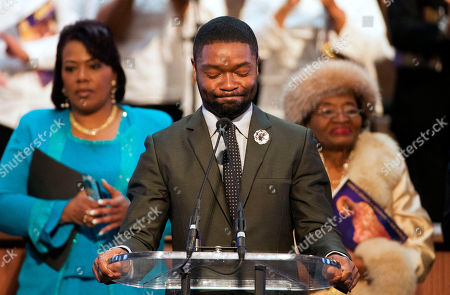 """Stock Image of David Oyelowo, Bernice King, Christine King Farris Actor David Oyelowo, who portrays the Rev. Martin Luther King Jr. in the movie """"Selma,"""" prepares to speak during a service honoring King at Ebenezer Baptist Church, where King preached, in Atlanta. Also pictured are King's daughter Bernice King, left, and his sister Christine King Farris, right"""