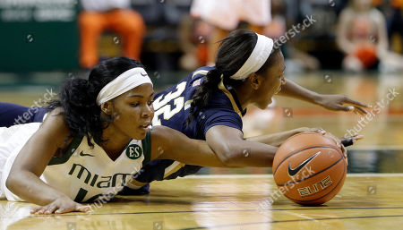 Michelle Woods, Jewell Loyd Miami guard Michelle Woods (10) battles Notre Dame guard Jewell Loyd (32) for a loose ball in the first half of an NCAA college basketball game in Coral Gables, Fla., . Miami won 78-63